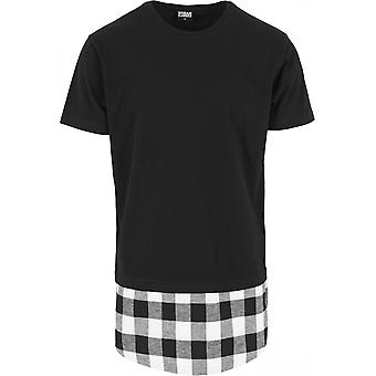 Urban classics men's T-Shirt long shaped flannel bottom