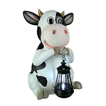 Betty Sue Farm Cow Holding LED Solar Light Garden Decor