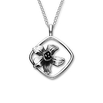 Sterling Silver Traditional Scottish July Larkspur Birth Flower Hand Crafted Necklace Pendant
