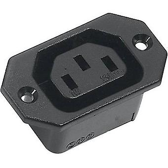 K & B 43R031121 IEC connector 43R Series (mains connectors) 43R Socket, vertical vertical Total number of pins: 2 + PE 10 A Black 1 pc(s)