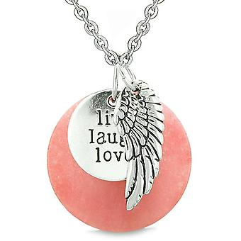 Guardian Angel Wing Live Laugh Love Inspirational Medallion Magic Amulet Pink Quartz Necklace