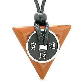 Amulet geluk munt charme driehoek piramide bevoegdheden rode Jasper spirituele geluk hanger ketting