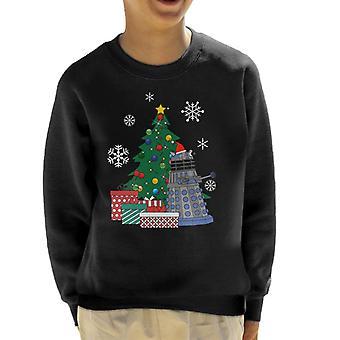 Dr Who Dalek Around The Christmas Tree Kid's Sweatshirt