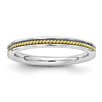 2.25mm 925 Sterling Argent Rhodium plaqué Expressions Stackable Expressions Gold Flashed Ring Jewelry Gifts for Women - Ri