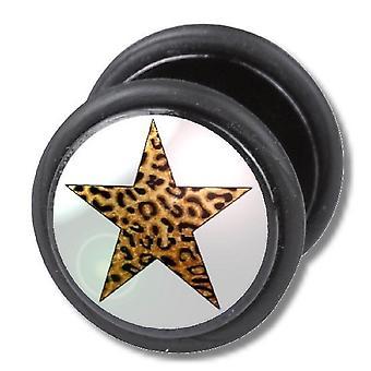 Falska fuskare örat Plug, örhängen, smycken, Leopard Star