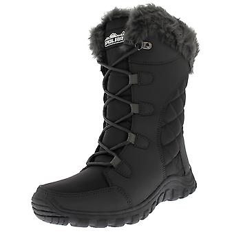 Womens trapuntato Lace Up grigio pelliccia all'aperto foderato polsino neve pioggia Duck Boot UK 3-10