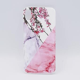 iPhone 6 Plus hoesje - Triangle Marble flower pink