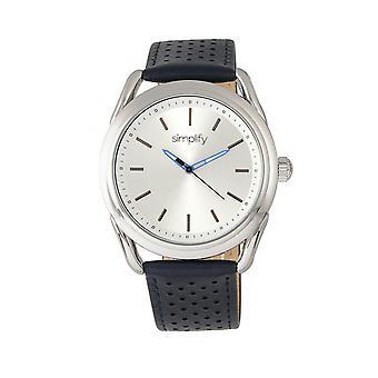 Vereenvoudigen van de 5900 lederen-Band Watch - zilver/blauw