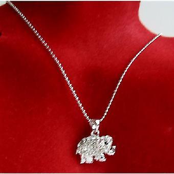 Elefant hänge halsband elefant Cubic Zircon & blåtira halsband