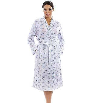 Camille Camille Womens Luxury Porcelain Floral Wrapover Robe