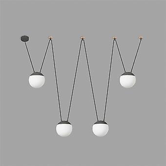 Faro - miniera pendente quattro-gancio grigio scuro con luce legno FARO28376 - 4L