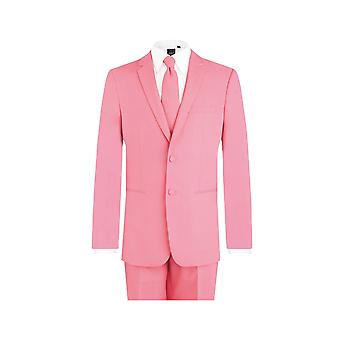 d/Spoke Mens Candy Pink 2 Piece Suit Regular Fit Notch Lapel Novelty Partywear