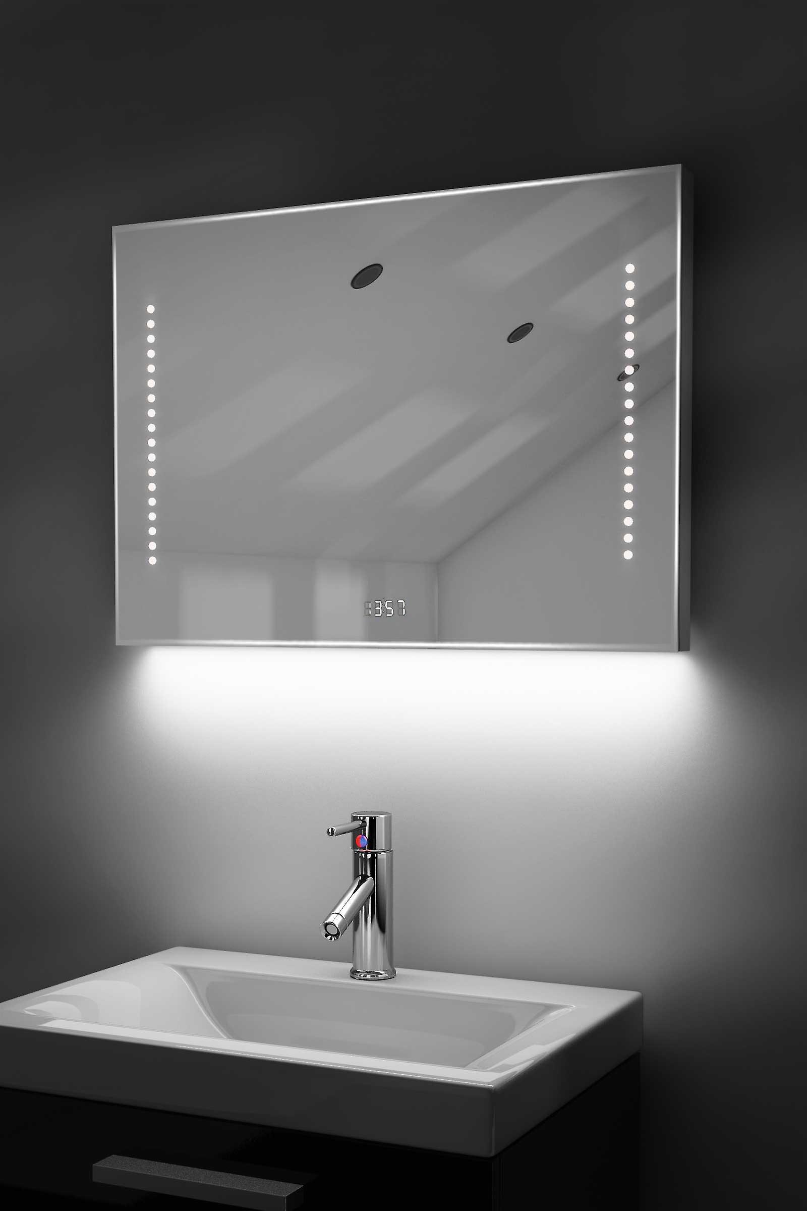 Digital Clock Slim Mirror with RGB Lighting, Demist & Sensor k192rgb