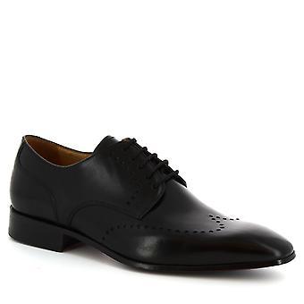 Faites main demi richelieus chaussures Leonardo chaussures en cuir de veau noir