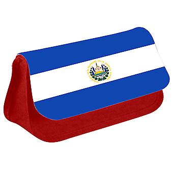 El Salvador Flag Printed Design Pencil Case for Stationary/Cosmetic - 0053 (Red) by i-Tronixs