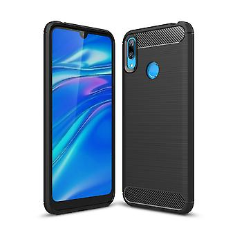 Huawei Y7 2019 TPU geval Carbon Fiber Optics geborsteld bescherming geval zwart