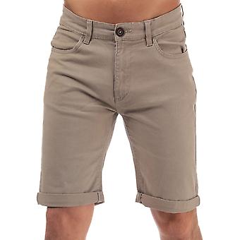 Mens Crosshatch Black Label Cottrell Chino Shorts en pierre-zip Fly-Turn Up