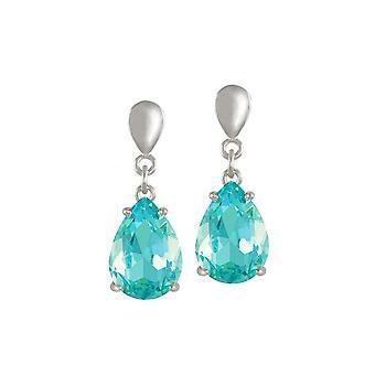 Eternal Collection Seduction Teardrop Aquamarine Crystal Silver Tone Drop Pierced Earrings