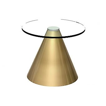 Gillmore Round Clear Glass Side Table With Conical Brass Base