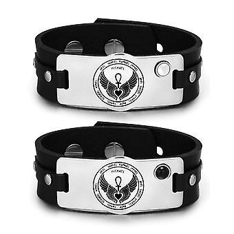 12 Archange gardien amulettes Love Couple blanc chats simulé œil simulé Onyx cuir Bracelets