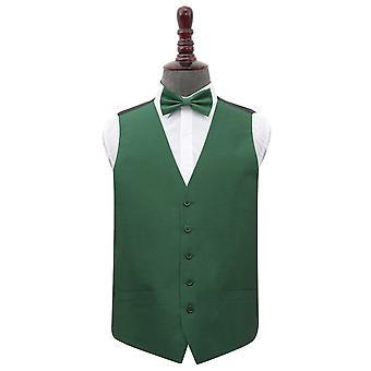 Smaragd grün Plain Shantung Hochzeit Weste & Fliege Set
