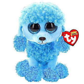 TY Beanie Boos Mandy den blå Poodle udstoppet dyr Plys bløde 15cm