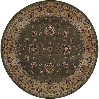 Genesis 034f1 green/beige indoor area rug round 8' rnd