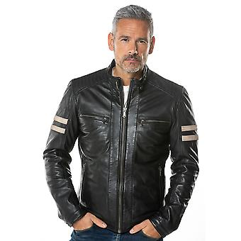 Charlie Leather Racer Jacket in Navy