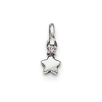 925 Sterling Silver Pink CZ Cubic Zirconia Simulated Diamond Star Kids Pendant Necklace Jewelry Gifts for Women