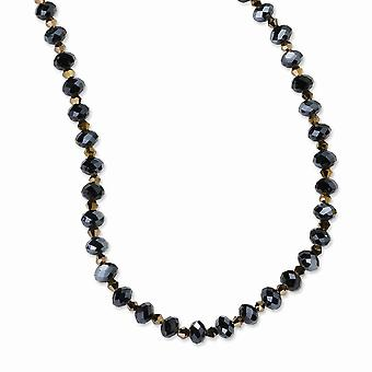 Black Plating Fancy Lobster Closure Black plated Dark Brown Crystal Bead 16 Inch With ext Necklace Jewelry Gifts for Wom