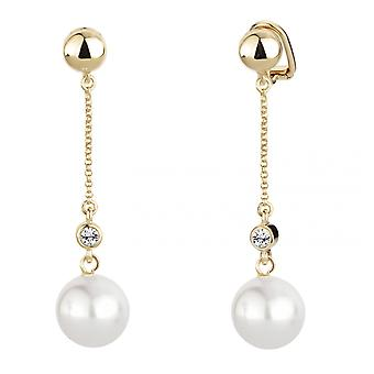 Traveller clip earring - hanging - white pearl - 22ct gold plated - 114139