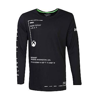 Xbox T Shirt Ready To Play Classic Logo nouveau officiel Homme Black Long Sleeve