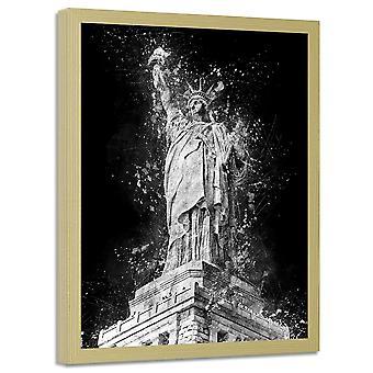Retrato no frame natural, estátua da liberdade na noite