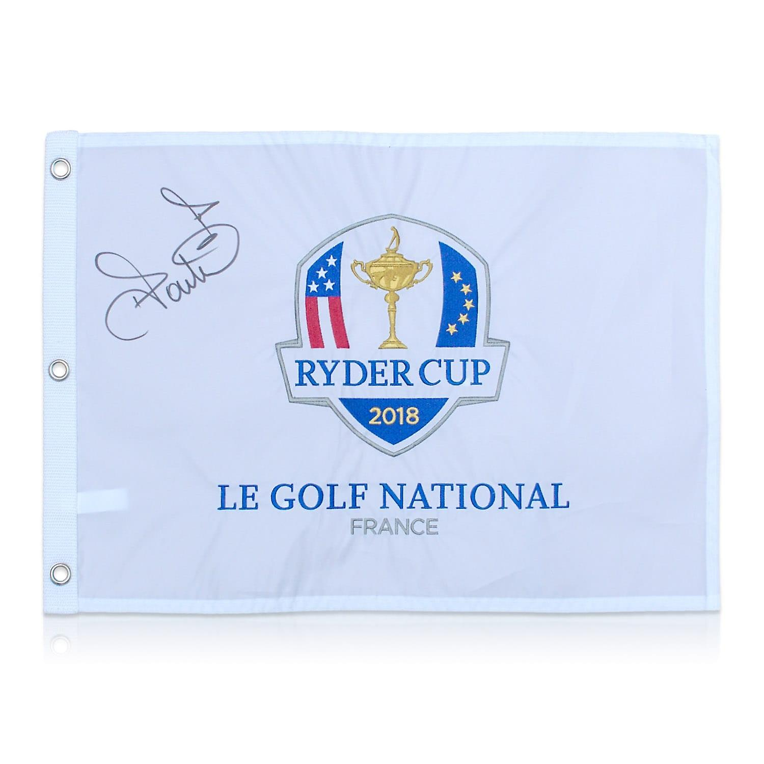 Ian Poulter Signed 2018 Ryder Cup Pin Flag. In Deluxe Frame