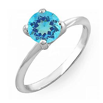 Dazzlingrock Collection 18K 6mm Round Cut Blue Topaz Solitaire Bridal Engagement Ring, White Gold