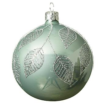 SALE - 8cm Glass Eucalyptus Green Christmas Tree Bauble with Silver Leaves