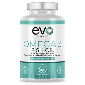 Omega-3 Fish Oil Softgels (365 Softgels) 1000mg Maximum Potency  - Evo Nutrition