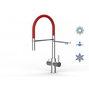 5 Way Inox Filter Tap Idéal Pour Professional Sparkling, Plain And Cooled Water Systems - Brushed Finish - Rouge - 445