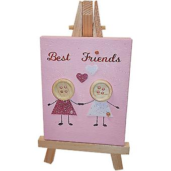 Best Friends Canvas & Stand Baby Pink by Wee Bee Gifts