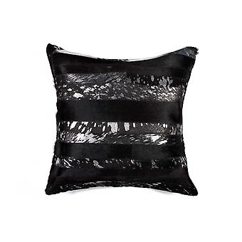 """18"""" x 18"""" x 5"""" Black And Silver - Pillow"""