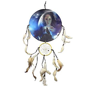 Native American Girl und heulender Wolf Dreamcatcher