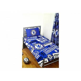 Chelsea FC Official Football Patch Single Duvet And Pillow Case Set