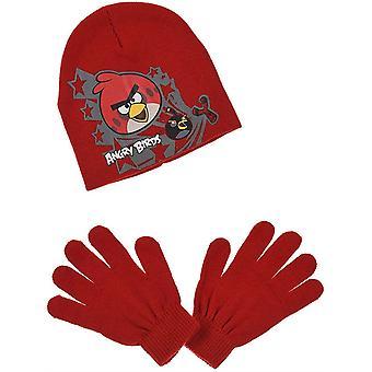 Rapazes com raiva pássaros 2 peça conjunto inverno Beanie chapéu e luvas
