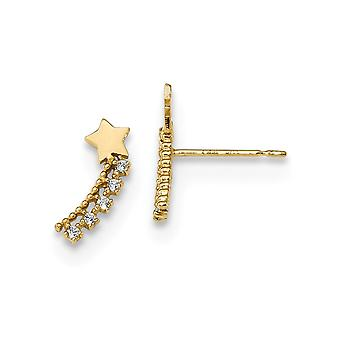 14k Madi K Kids CZ Cubic Zirconia gesimuleerde diamant schieten ster post oorbellen maatregelen 11,4x4,5 mm brede sieraden geschenken f