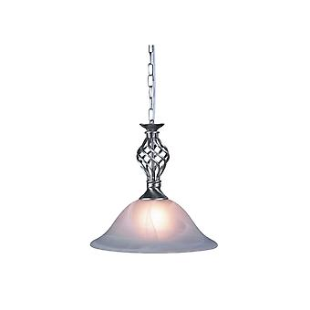 THLC Traditional Knot Twist Ceiling Pendant Light In Satin Chrome Finish With Alabaster Glass