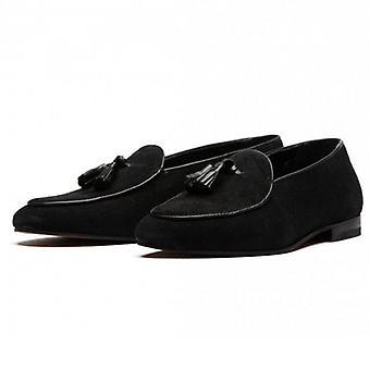 Hudson Strayhorn Black Suede Slip On Tassle Loafer Shoes