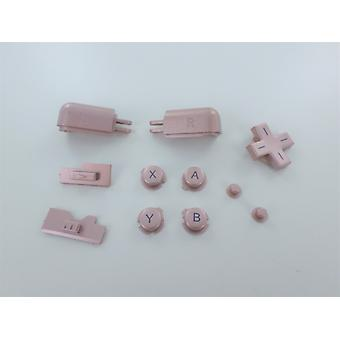 Button set for ds lite nintendo a b x y d-pad l r trigger, volume & power slider replacement - rose pink | zedlabz