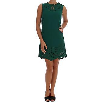 Rochie Dolce & Gabbana Green Floral Cutout Din Lână De Mătase