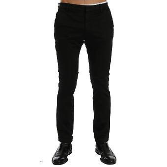 Costume National Black Slim Fit Cotton Stretch Pants