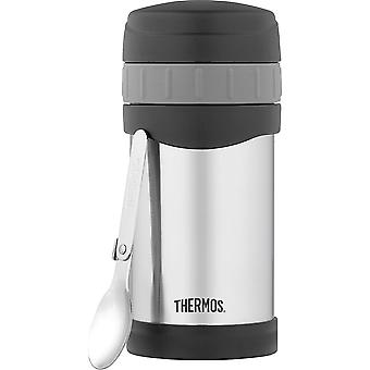 Thermos 16 oz. Insulated Stainless Steel Food Jar w/ Folding Spoon -Silver/Black
